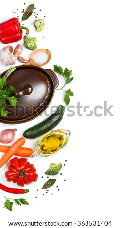 Top view of preparing to cook vegetable soup, isolated on white background. - stock photo