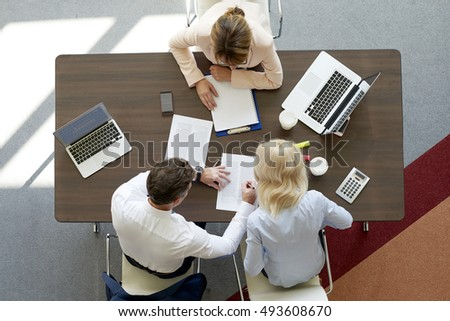 Top view of professional investment advisor woman consulting about financial plan with business management.