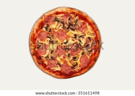 Top view of Prosciutto Funghi Pizza with mozzarella cheese, mushrooms and ham isolated on white background