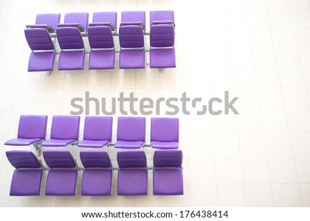 Top view of purple chair at the Bangkok airport. - stock photo