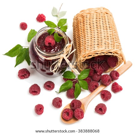 Top view of raspberry jam ( marmalade) in a jar and fresh raspberry isolated on a white background - stock photo