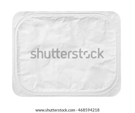 Top view of rectangular aluminum foil cover food tray isolated on white background with clipping path