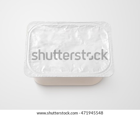 Top view of rectangular aluminum foil cover food tray on gray background with clipping path