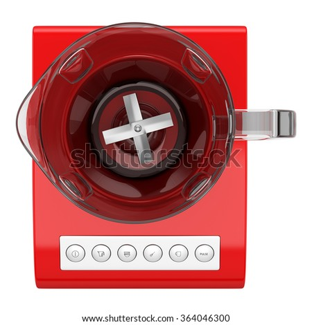 top view of red countertop blender isolated on white background - stock photo