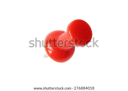 Top view of red drawing pin isolated on white with path - stock photo