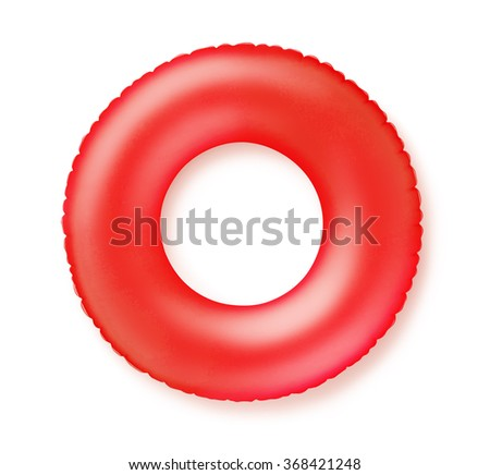 Top view of red inflatable swimming ring isolated on white - stock photo
