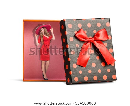 Top view of red isolated gift box with ribbon on white background - stock photo