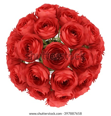 top view of red roses in vase isolated on white background - stock photo