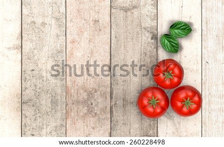 top view of red tomatoes and basil leaves on wooden background, with empty space for custom text (3d render) - stock photo
