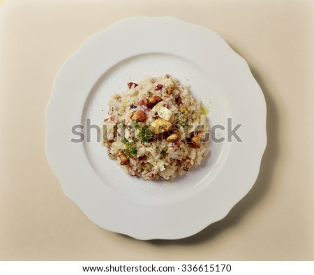 Top view of Risotto with mixed Mushrooms - stock photo