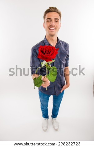 top view of romantic man gives a red rose