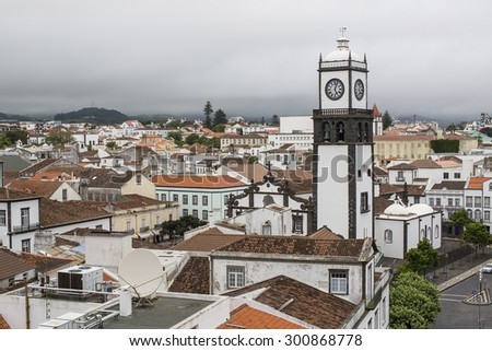 Top view of roofs in center Ponta Delgada, Sao Miguel island, Azores. - stock photo