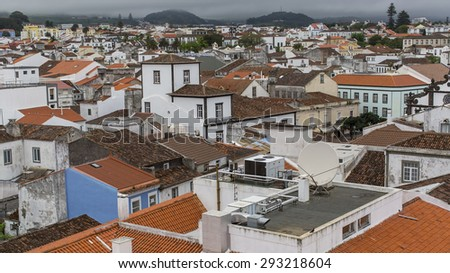 Top view of roofs in the center of Ponta Delgada, Azores, Portugal. - stock photo