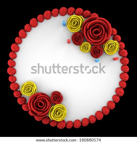 top view of round birthday cake with candles isolated on black background - stock photo