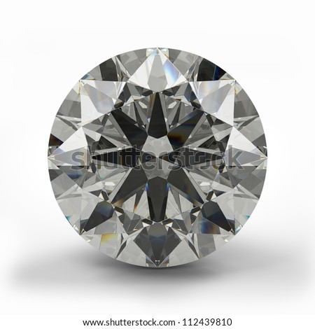 Top view of round diamond. Beautiful sparkling diamond on a light reflective surface. High quality 3d render. - stock photo