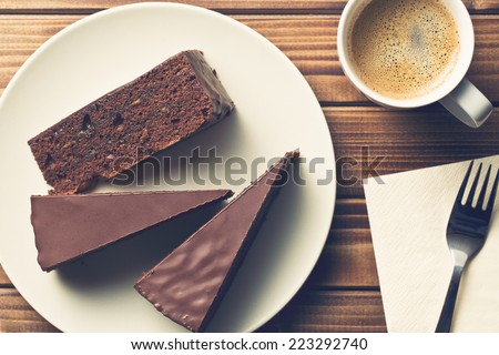 top view of sacher cake and coffee - stock photo