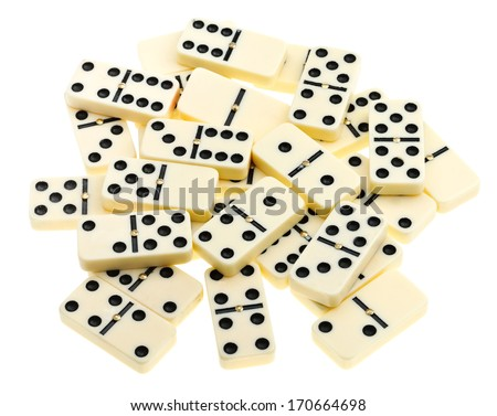 top view of scattered dominoes isolated on white background - stock photo