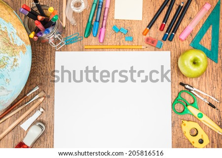 Beau Top View Of School Accessories On A Desk With Copy Space