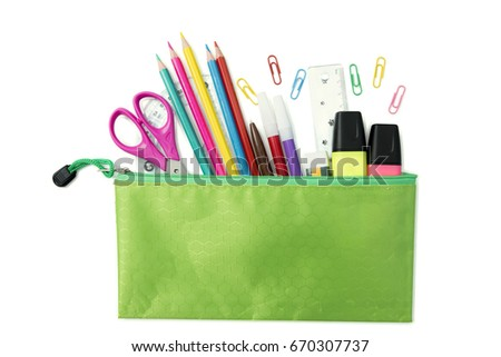 Top view of school stationery in pencil case, isolated on white background