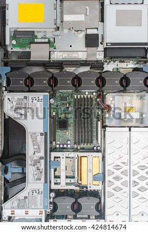 Top view of server pc. Motherboard, CPU, cooler fans and RAM memory. - stock photo