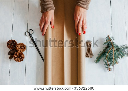 Top view of Set for packing New Year gifts - stock photo