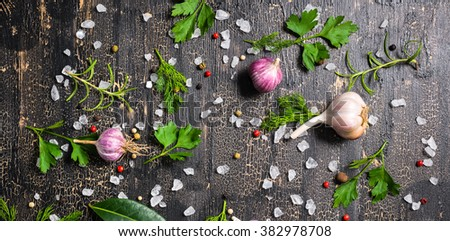 top view of setting garlic, dry peppers, sea salt, different greenery on cracks black background, designer decoration, panorama  - stock photo