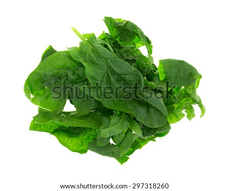 Top view of several leaves of raw spinach isolated on a white background. - stock photo