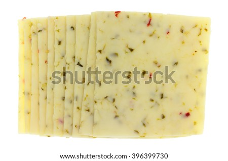 Top view of several slices of pepper jack cheese isolated on a white background. - stock photo