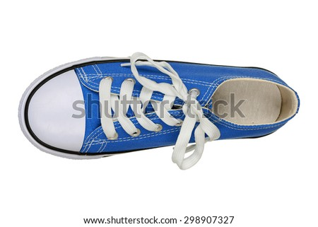 top view of single sneaker isolated on white