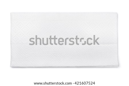 Top view of single tissue paper isolated on white - stock photo