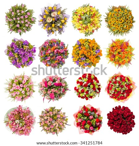 Top view of sixteen colorful flower bouquets. - stock photo