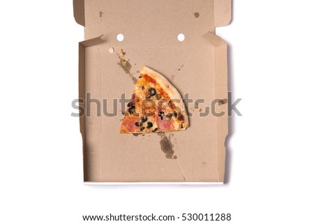Top view of slice of tasty pizza in box, isolated on white background