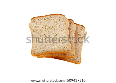 Top view of slices of toast bread, isolated on white background.