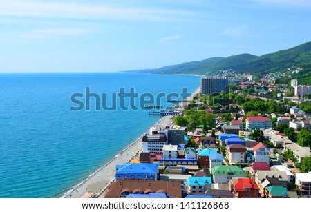 Top view of Sochi, Lazarevskoye. Popular russian sea resort. - stock photo