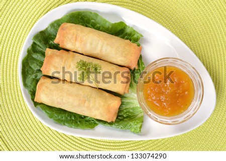 Top view of spring rolls - stock photo