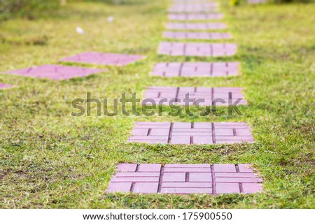 top view of stone path in garden - stock photo