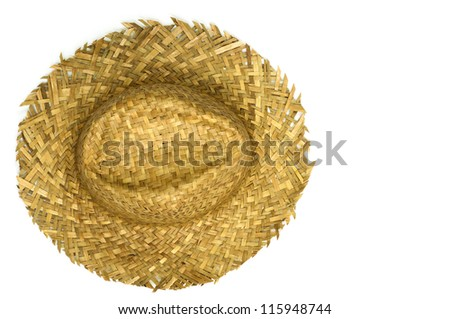 Top view of straw hat isolated on a white background - stock photo