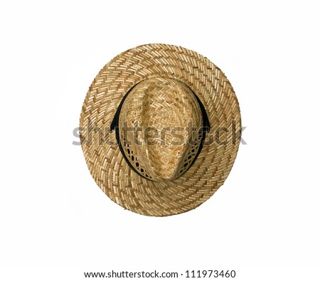 top view of straw hat on isolated on white background - stock photo