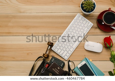 Top view of stuff office desktop and copy space  - stock photo