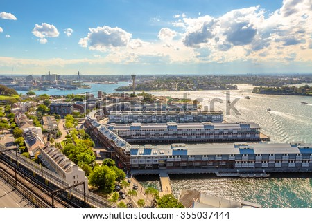 Top view of Sydney, Australia. View from the Pylon Lookout located the southern eastern end of the Sydney Harbour Bridge. - stock photo