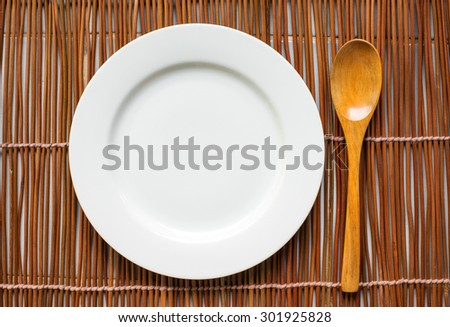 Top view of tableware for eating on the table - stock photo