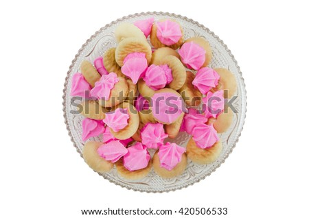 Top view of Thai style cookies isolated on white background