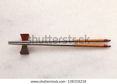 top view of the chopstick - stock photo