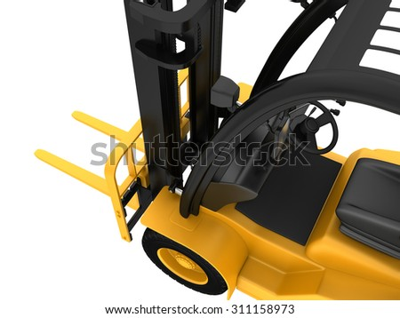 Top view of the control cabin yellow forklift.