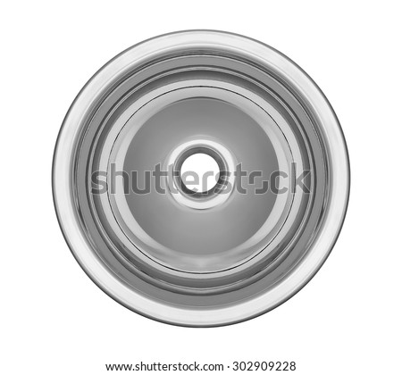 Top view of the empty circular sink kitchenware isolated on white with clipping path