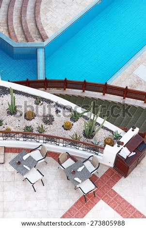 top view of the empty poolside cafe - stock photo