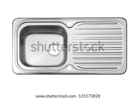 Top view of the empty sink the necessary kitchenware - stock photo