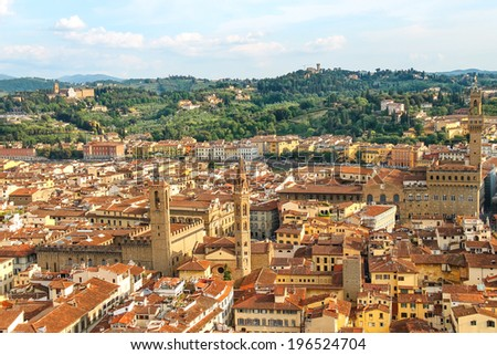 Top view of the historic center of Florence, Italy - stock photo