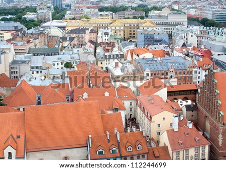 Top view of the Latvian capital Riga. Shooting from the observation tower of the of St. Peter church.