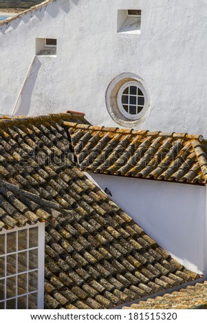 Top view of the main church of the historical old town of Faro, Portugal.